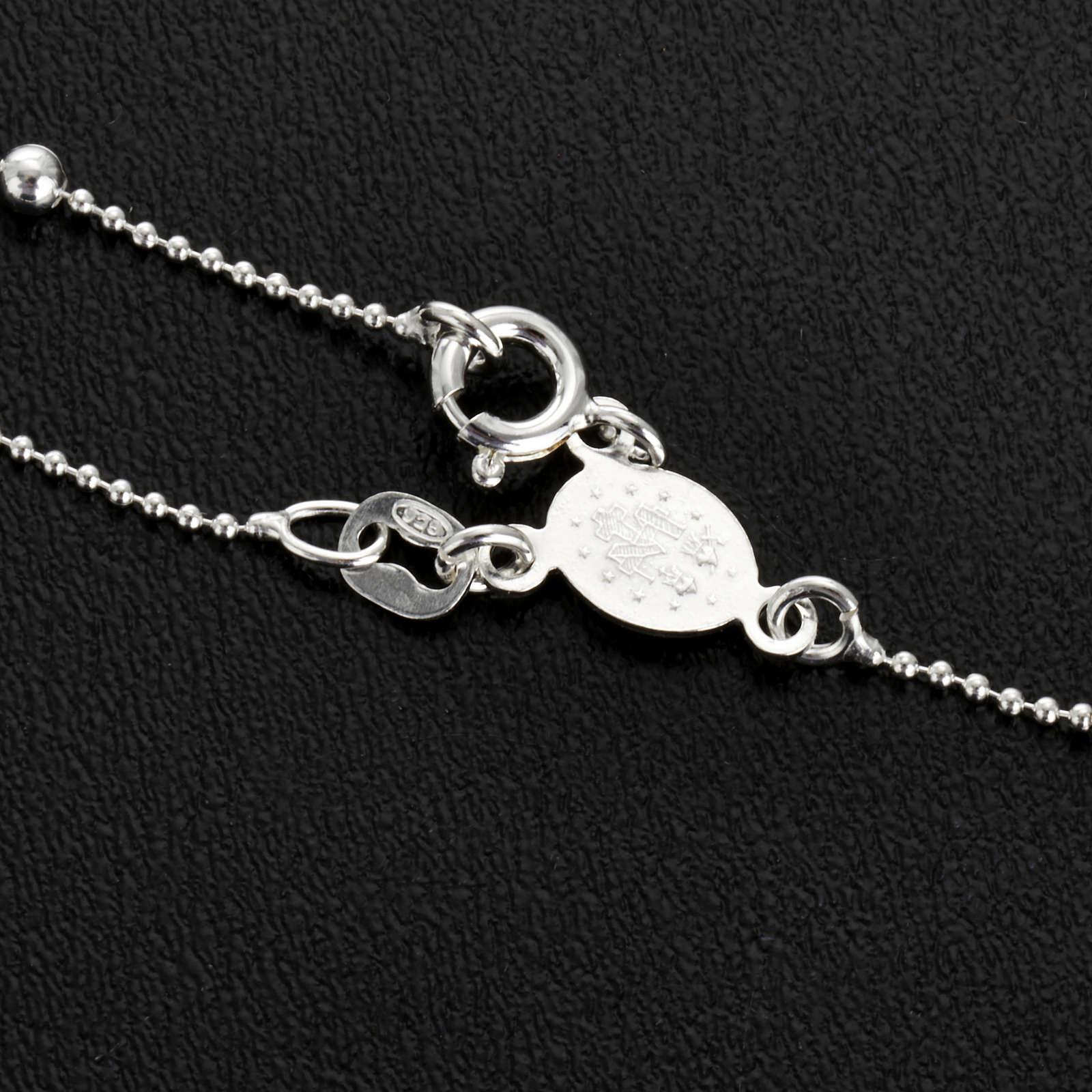 Collana rosario argento 925 grani 3 mm 4