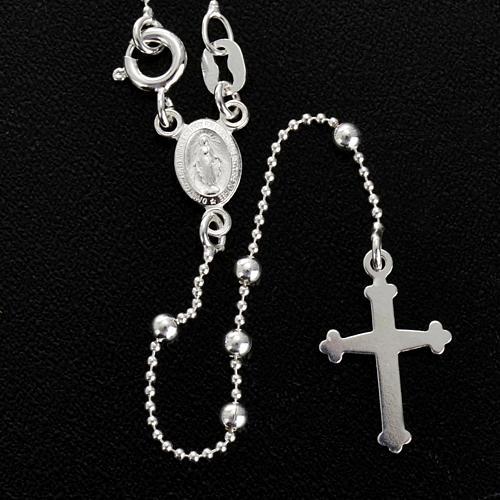 Collana rosario argento 925 grani 3 mm 2