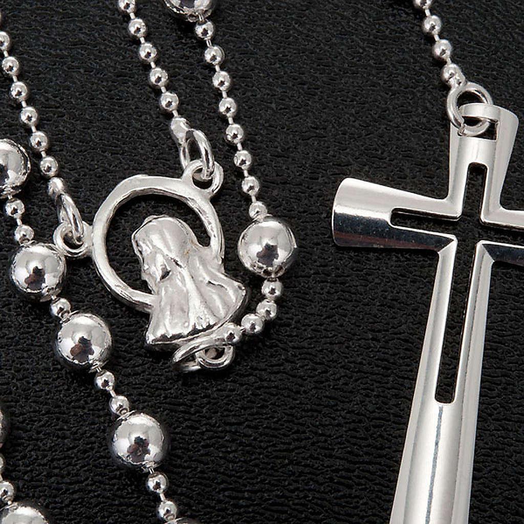 Collana rosario argento 925 grani 4 mm 4