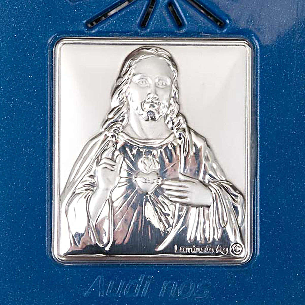 Digital Rosary with silver image blue version 4