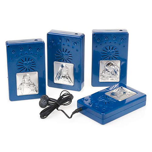 Digital Rosary with silver image blue version 1