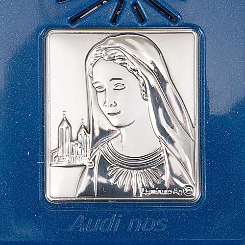 Digital Rosary with silver image blue version 6