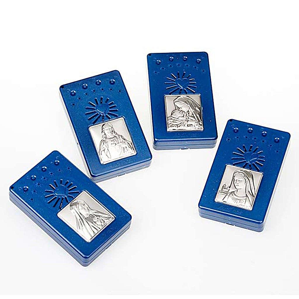 Rosario Electrónico azul con imagen plateada, Idioma Italiano 4