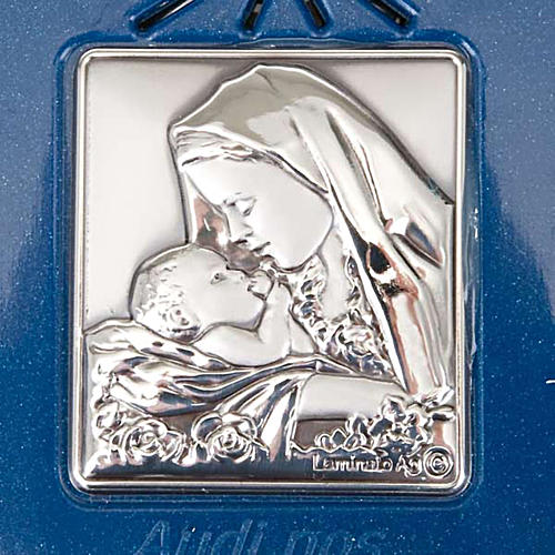 Digital Rosary with silver image blue version 5