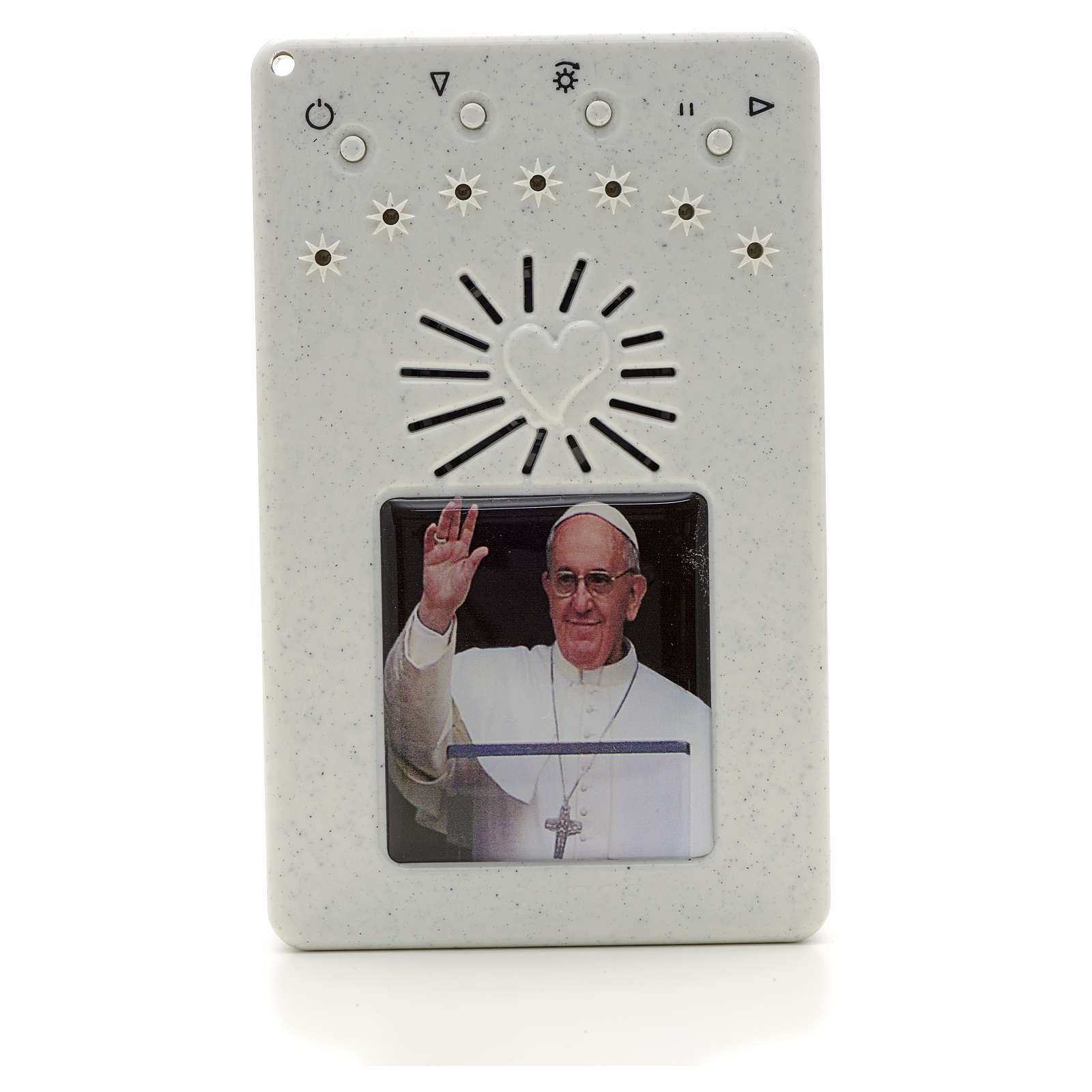 Rosario Electrónico Papa Francisco Saludando blanco ITA 4