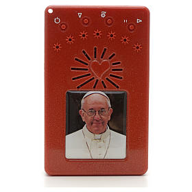 Electronic red rosary with litanies and image of Pope Francis s1