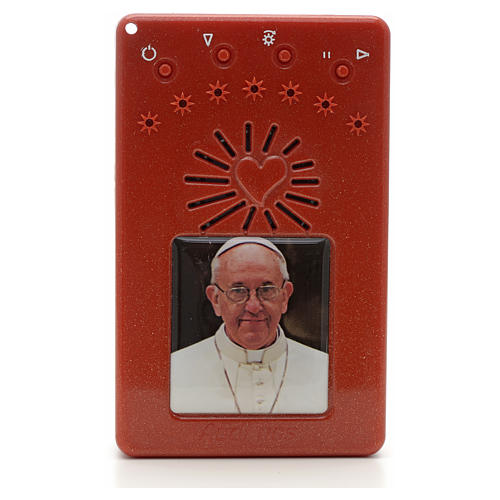 Electronic red rosary with litanies and image of Pope Francis 1