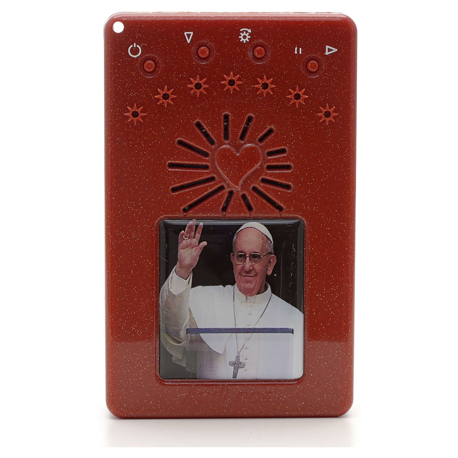 Electronic red rosary with Pope Francis saying hello and divine mercy chaplet 4