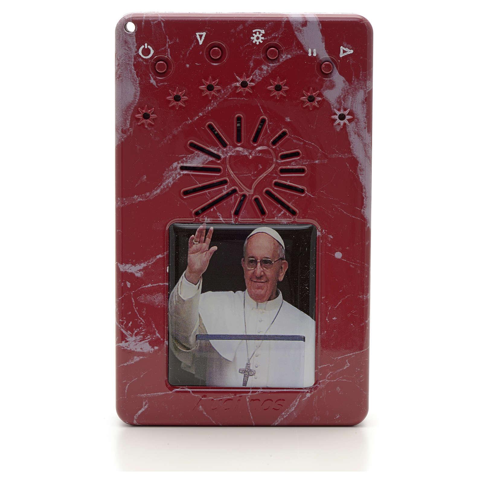 Rosario Elettronico Papa Francesco saluta rosso marm. Coroncina 4