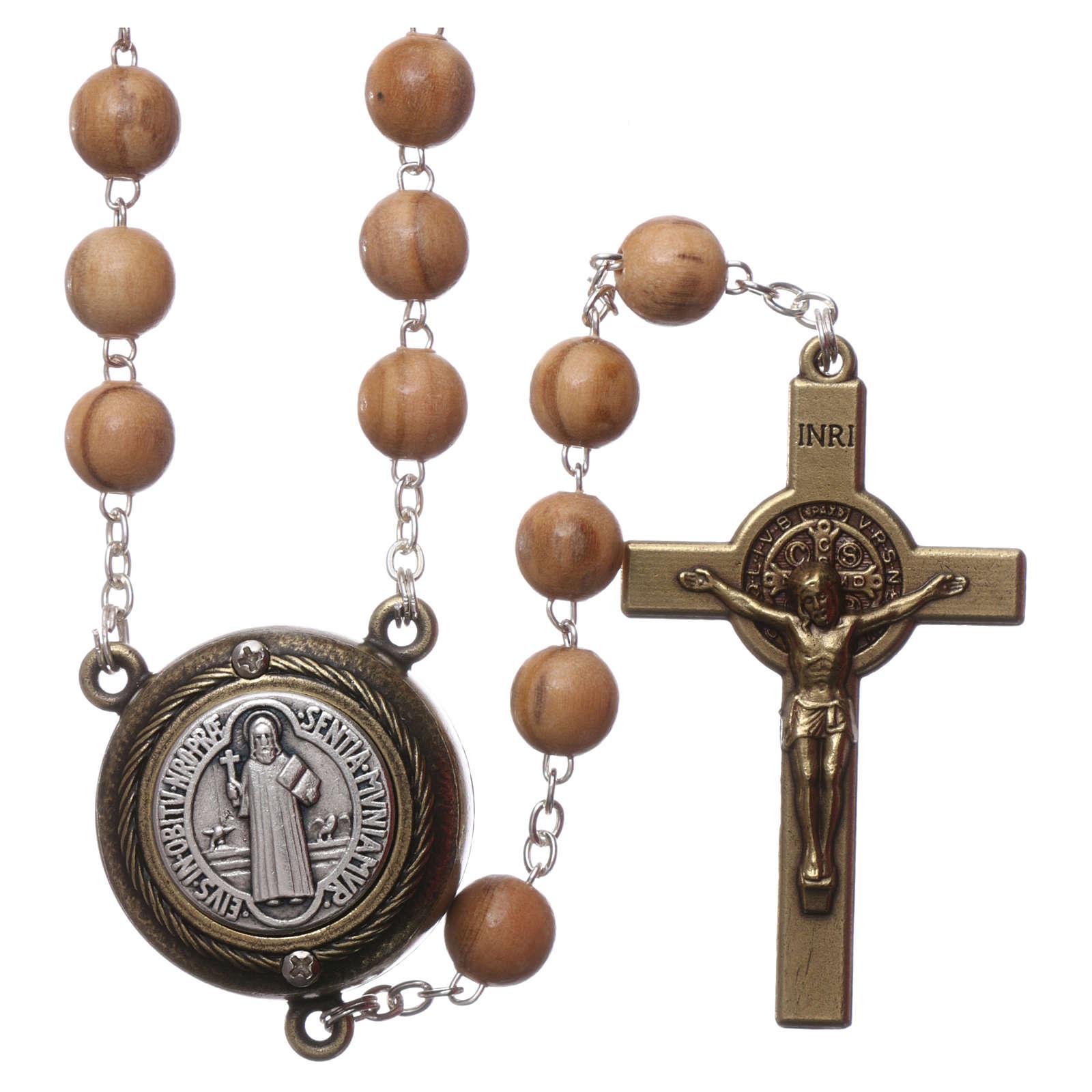 Rosario legno chiaro crociera parlante preghiera S. Benedetto in Francese 8 mm 4