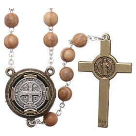 Rosario legno chiaro crociera parlante preghiera S. Benedetto in Francese 8 mm s2