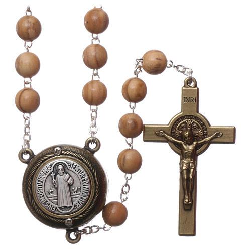 Rosario legno chiaro crociera parlante preghiera S. Benedetto in Francese 8 mm 1