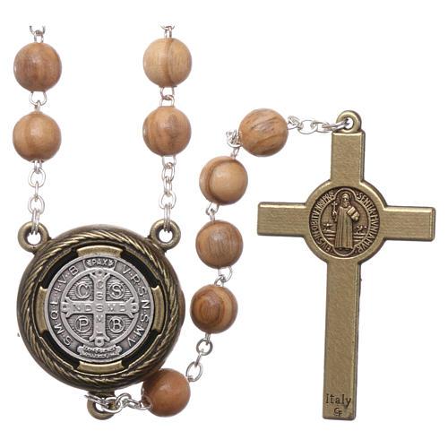 Rosario legno chiaro crociera parlante preghiera S. Benedetto in Francese 8 mm 2