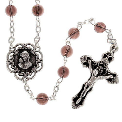 Ghirelli rosary with Virgin Lady and roses 6 mm 2