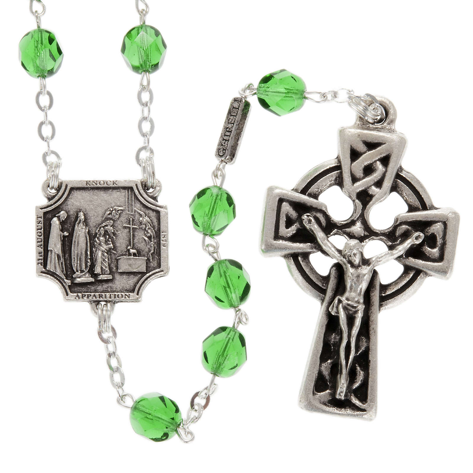 Ghirelli rosary Knock half-crystal green 7 mm 4