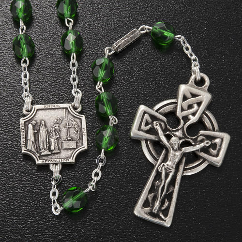 Ghirelli rosary Knock half-crystal green 7 mm 2
