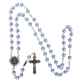 Ghirelli rosary beads light blue glass, roses 6mm s4