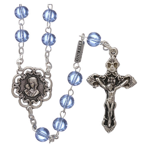 Ghirelli rosary beads light blue glass, roses 6mm 1