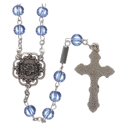 Ghirelli rosary beads light blue glass, roses 6mm 2