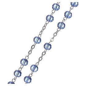Chapelet Ghirelli verre bleu clair et roses 6mm s3