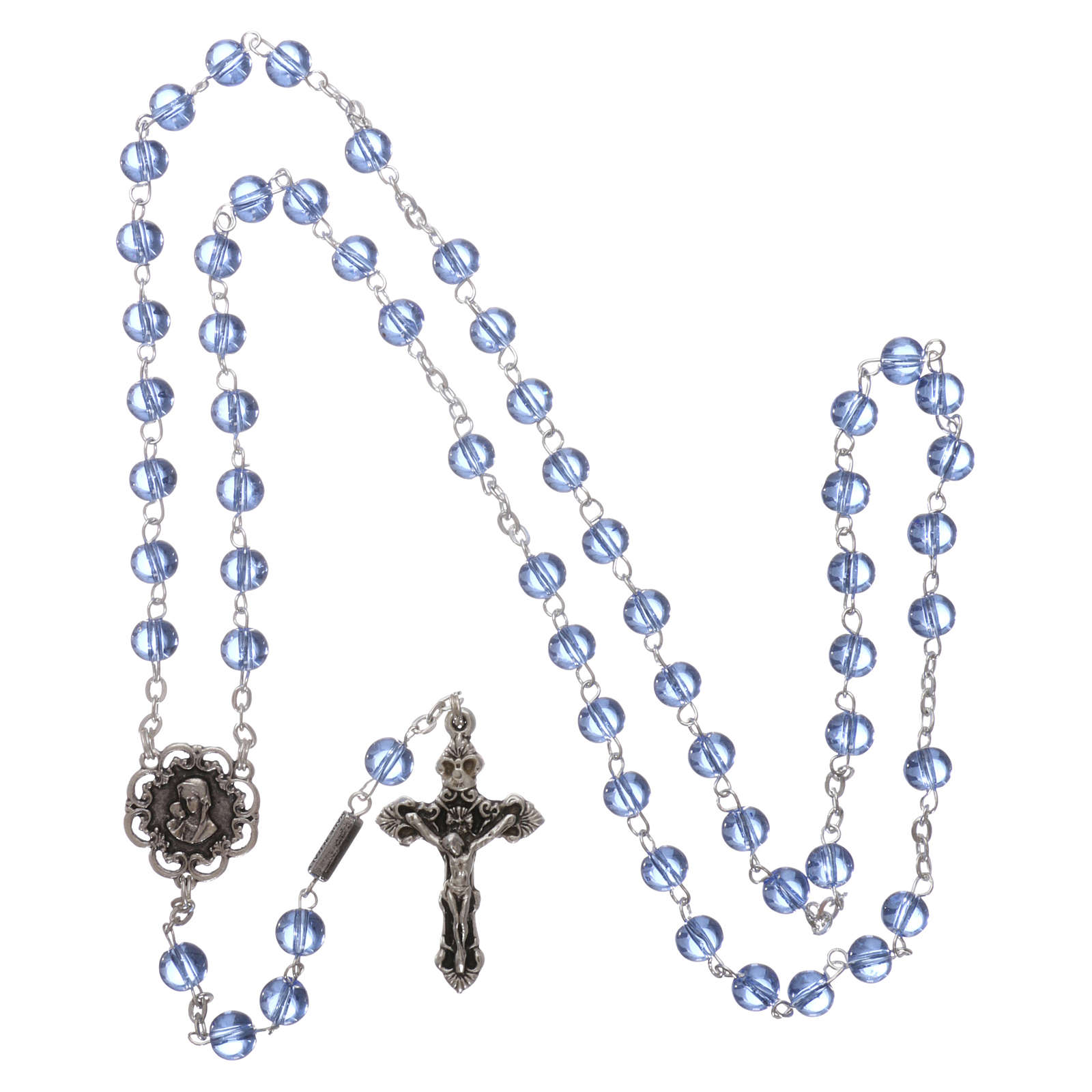 Ghirelli rosary beads light blue glass, roses 6mm 4