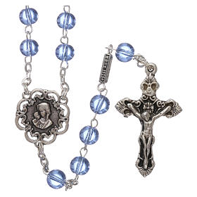 Ghirelli rosary beads light blue glass, roses 6mm s1