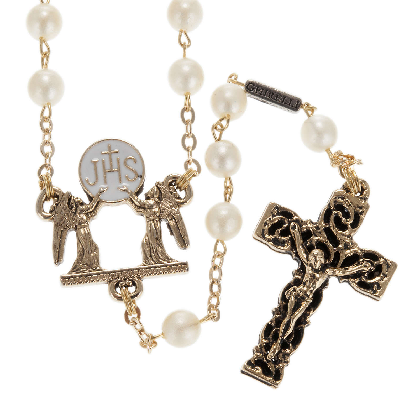 Ghirelli rosary beads, First Communion, white glass 4