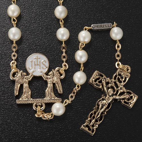 Ghirelli rosary beads, First Communion, white glass 2