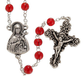 Ghirelli rosary Saint Thérèse of Lisieux red glass s1