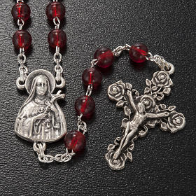 Ghirelli rosary Saint Thérèse of Lisieux red glass s2