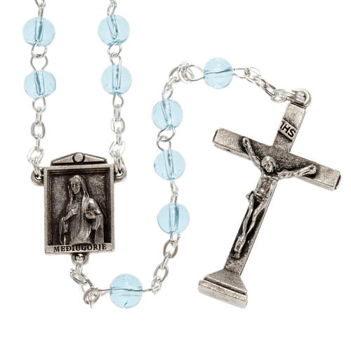 Ghirelli rosary in light blue glass Our Lady of Medjugorje 6mm 1