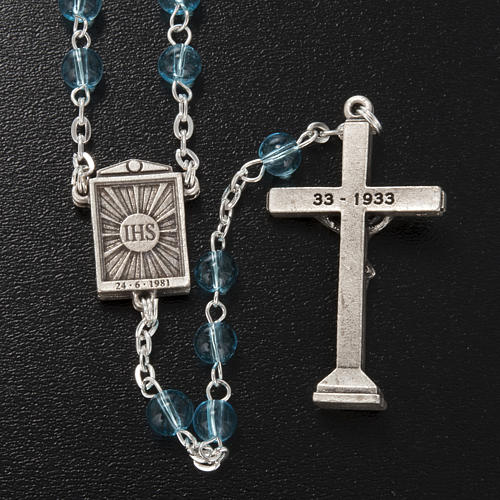 Ghirelli rosary in light blue glass Our Lady of Medjugorje 6mm 5