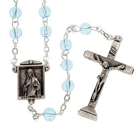 Ghirelli rosary in light blue glass Our Lady of Medjugorje 6mm s1