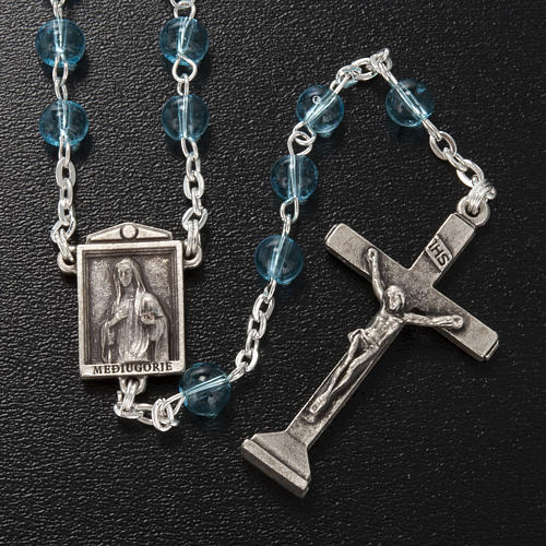 Ghirelli rosary in light blue glass Our Lady of Medjugorje 6mm 2