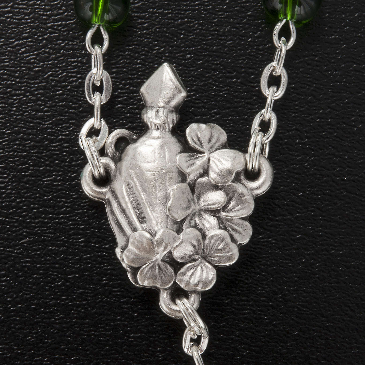 Ghirelli rosary, green glass, St. Patrick 6mm 4