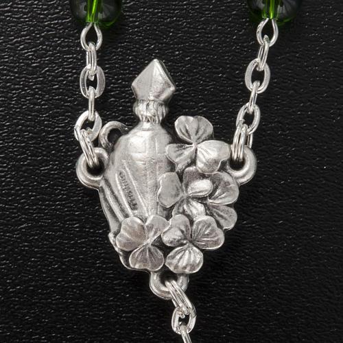 Ghirelli rosary, green glass, St. Patrick 6mm 5