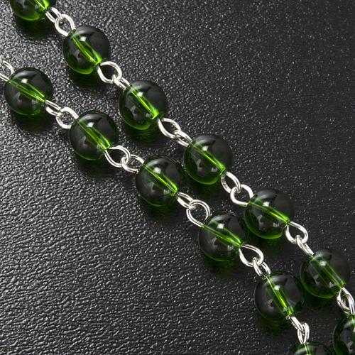Ghirelli rosary, green glass, St. Patrick 6mm 6