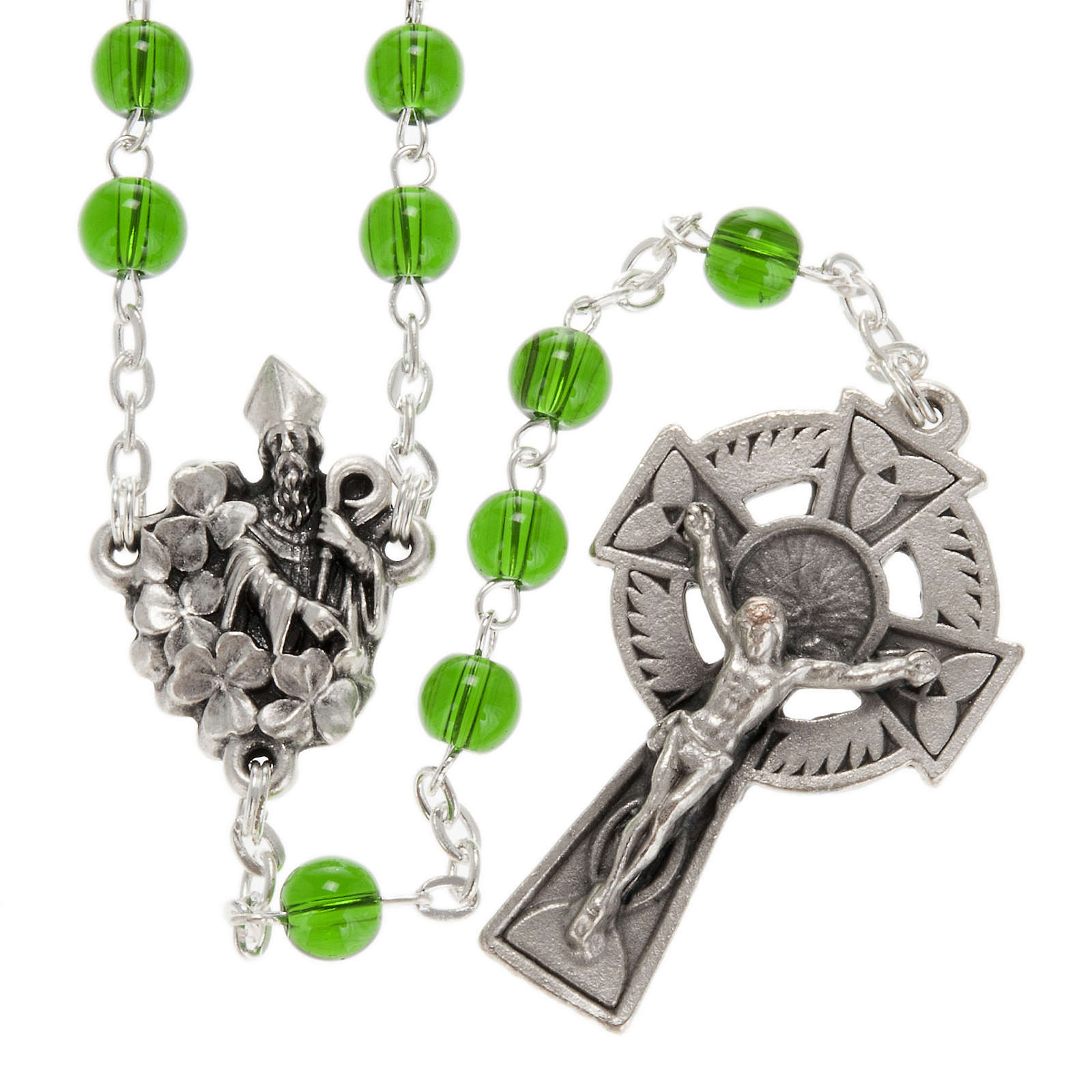 Ghirelli rosary, green glass, St. Patrick 6mm 4