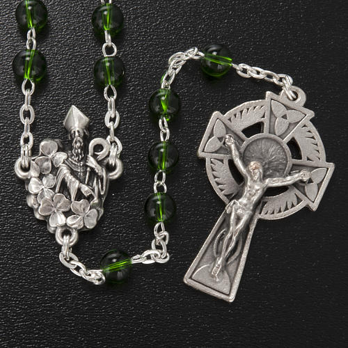 Ghirelli rosary, green glass, St. Patrick 6mm 2