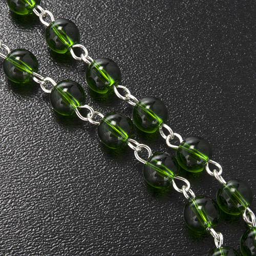 Ghirelli rosary, green glass, St. Patrick 6mm 6