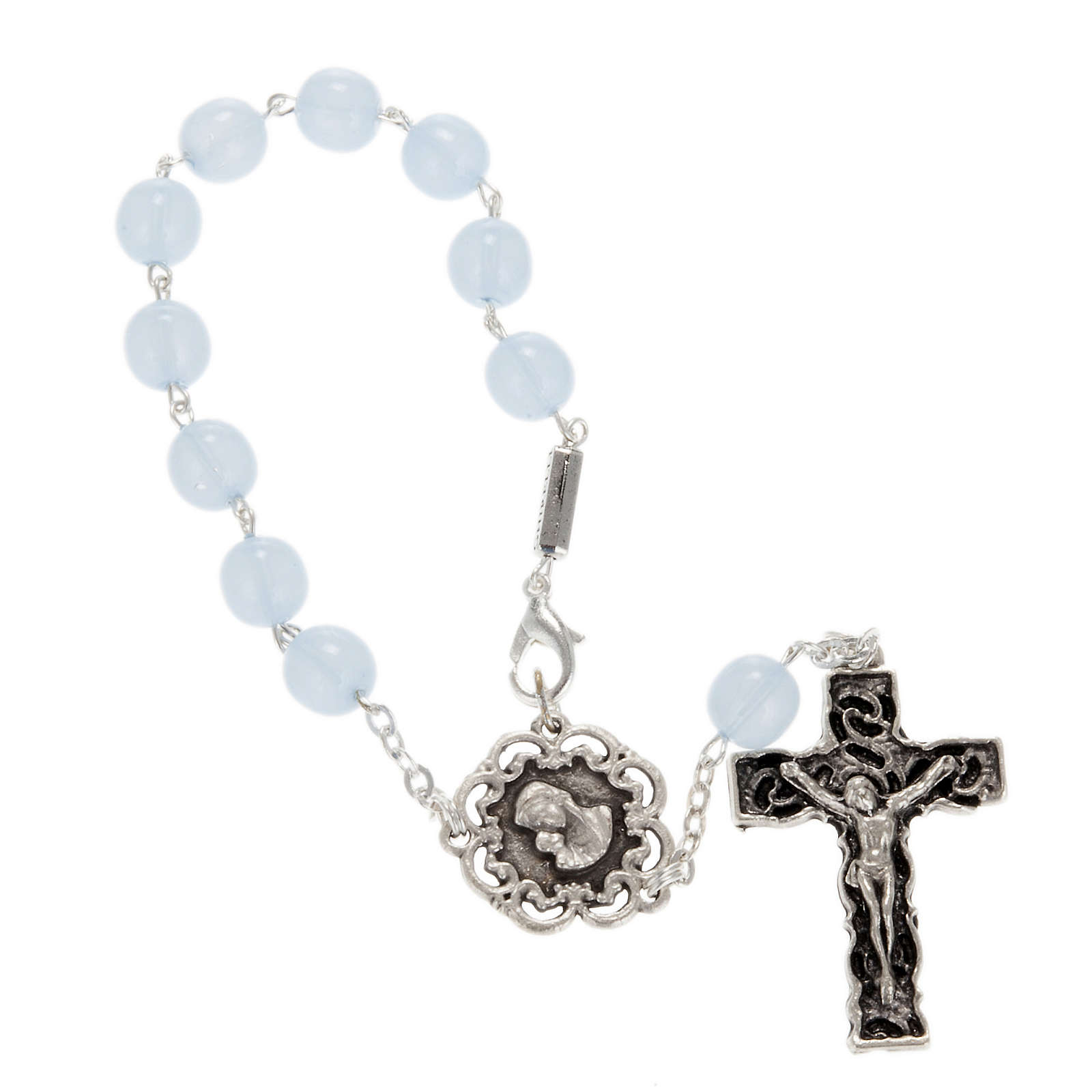 Ghirelli single-decade rosary, glass with Our Lady and baby 8mm 4