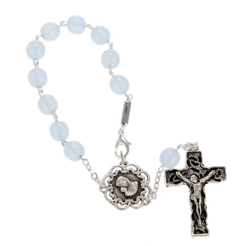 Ghirelli single-decade rosary, glass with Our Lady and baby 8mm 1