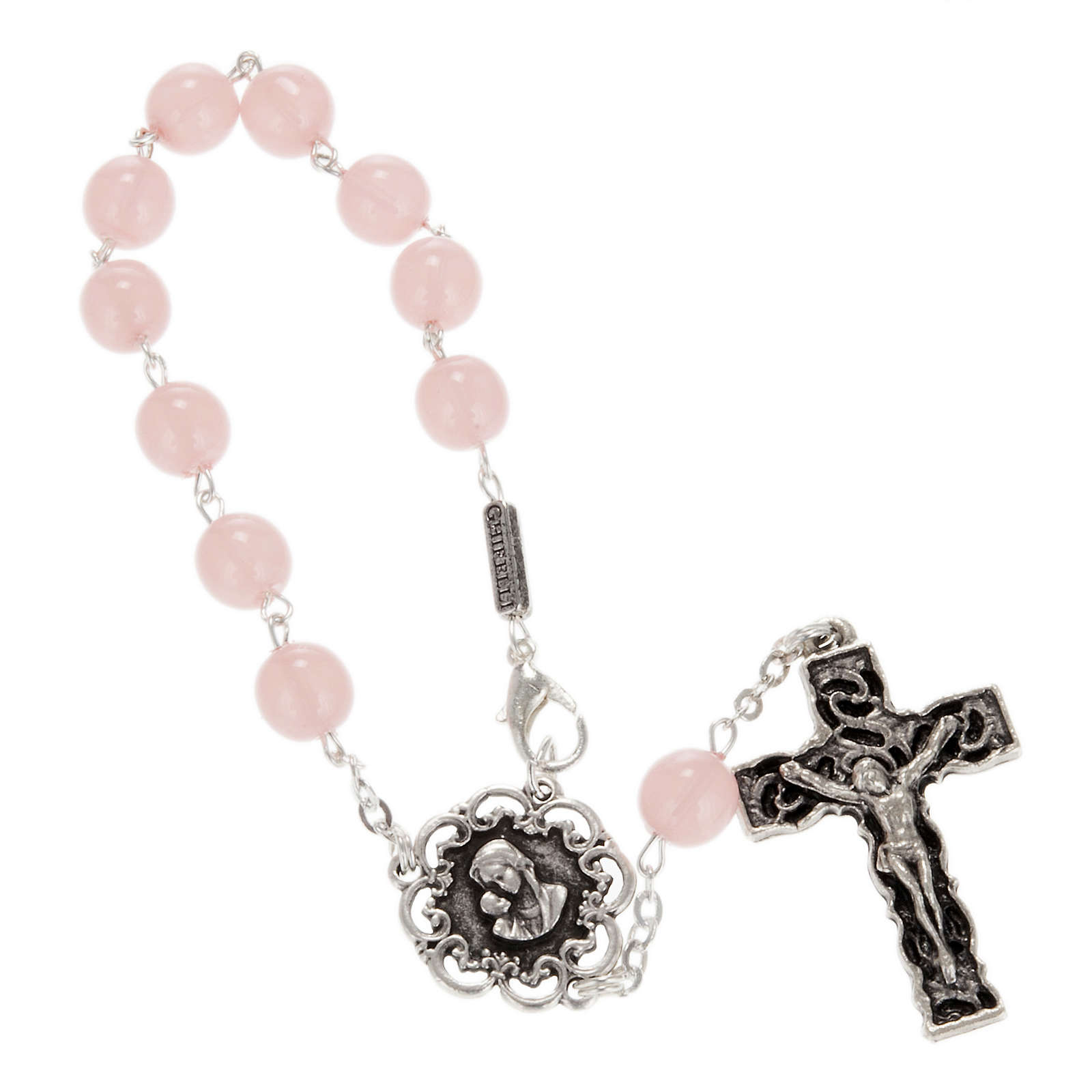 Ghirelli single-decade rosary, pink glass with Our Lady and baby 4