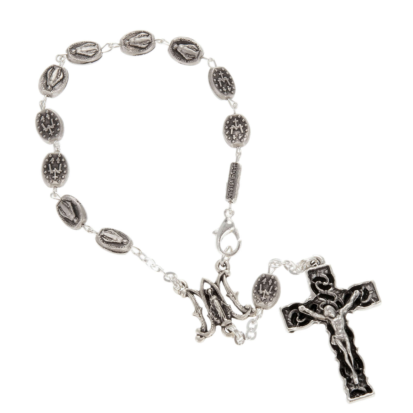 Ghirelli one-decade silver rosary, Miraculous 6x8mm 4