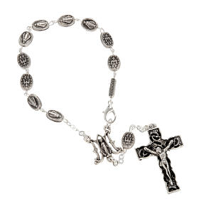 Ghirelli one-decade silver rosary, Miraculous 6x8mm s1