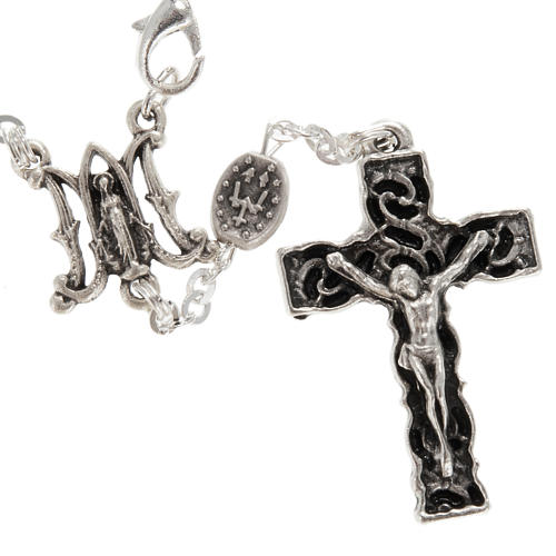 Ghirelli one-decade silver rosary, Miraculous 6x8mm 2