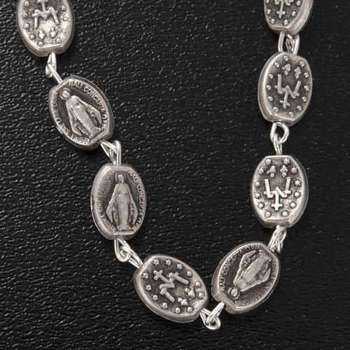 Ghirelli one-decade silver rosary, Miraculous 6x8mm 5