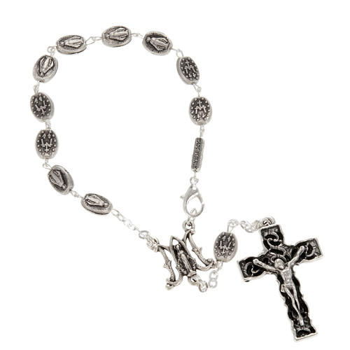 Ghirelli one-decade silver rosary, Miraculous 6x8mm 1