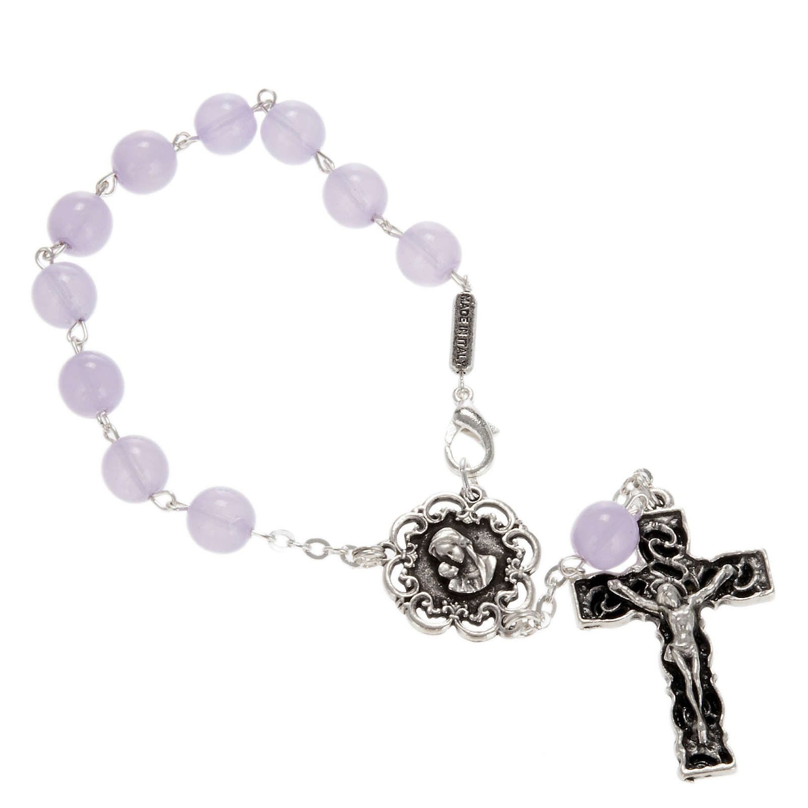 Ghirelli single-decade rosary in lilac glass 8mm 4