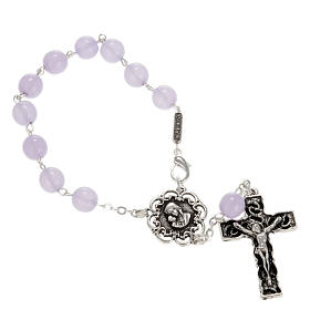 Ghirelli single-decade rosary in lilac glass 8mm s1